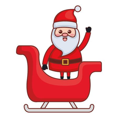 キャリッジクリスマスキャラクターベクトルイラストデザインでかわいいサンタクロース  イラスト・ベクター素材