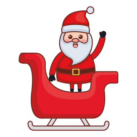 Cute santa claus in carriage christmas character vector illustration design Illustration