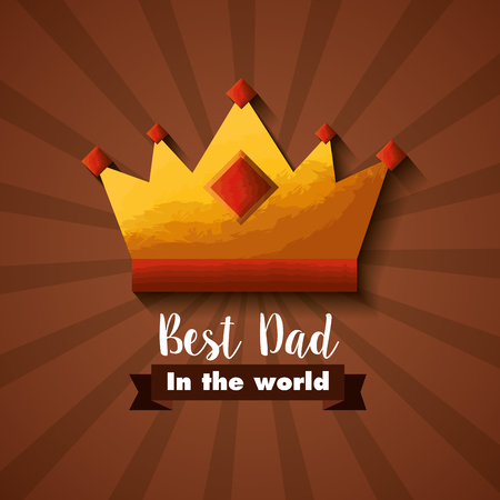 Gold crown best dad world, Happy Fathers Day card vector illustration.