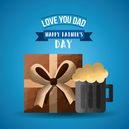 Cold beer foamy and present box. Happy Fathers day vector illustration.