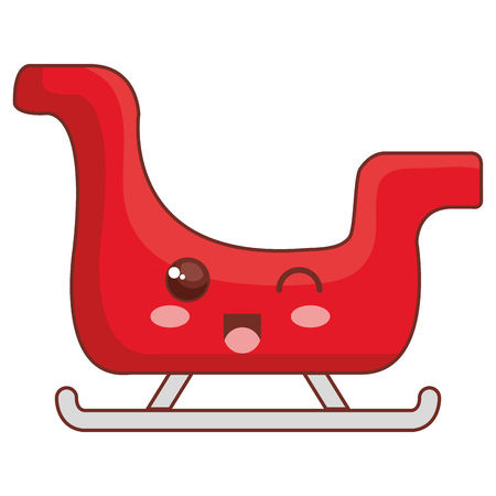 santa claus sleigh kawaii character vector illustration design