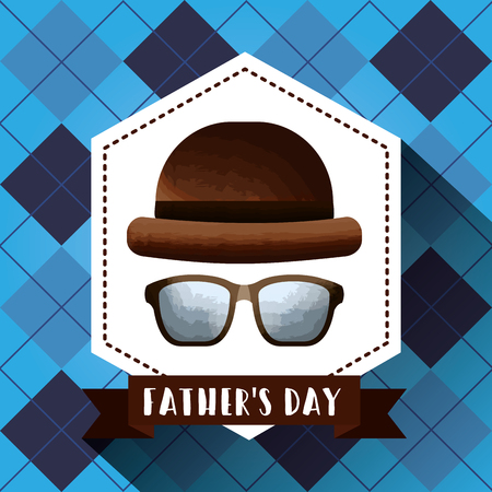 Retro hat and glasses Fathers Day card celebration style label.