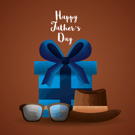 Blue wrapped present hat and glasses Happy Fathers Day on brown background. Vector illustration. Çizim