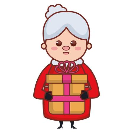 Moglie sveglia di Santa con progettazione dell'illustrazione di vettore del carattere del regalo Archivio Fotografico - 96444959