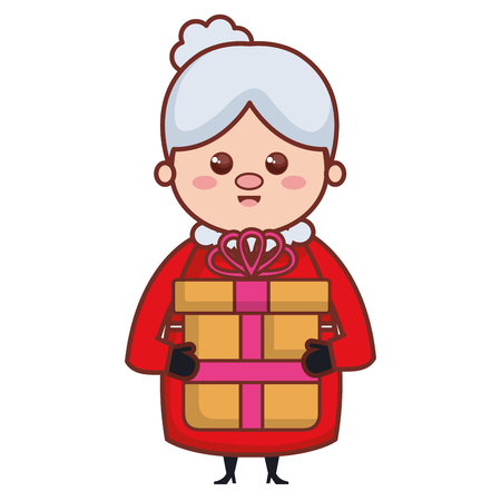 schattige santa vrouw met cadeau karakter vector illustratie ontwerp