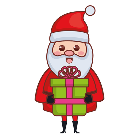 cute santa claus with gift christmas character vector illustration design