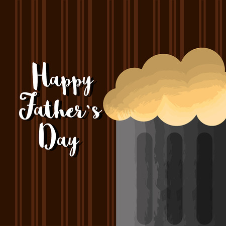 Foamy beer mug Happy Fathers day card on brown striped background. Vector illustration.