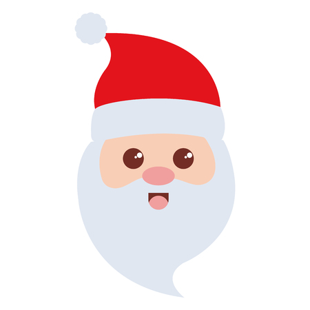 cute santa claus head christmas character vector illustration design