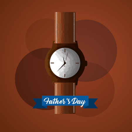 fathers day card with wrist watch as gift vector illustration