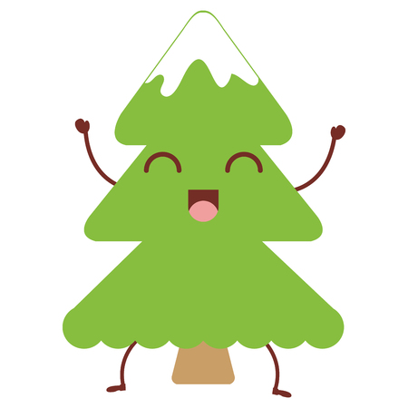 christmas pine tree kawaii character vector illustration design Illustration