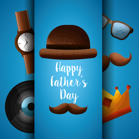 happy fathers day card with retro hat, mustache, wrist watch, vinyl, glasses banner vector illustration