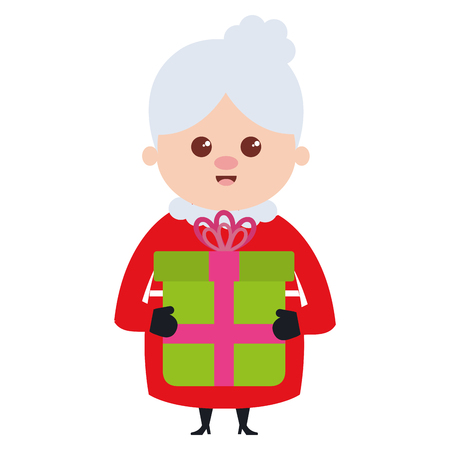 cute santa wife with gift character vector illustration design