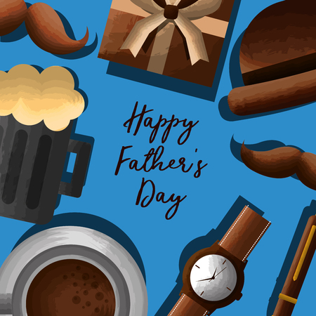 happy fathers day lettering hand - beer, gift, mustache, watch, coffee vector illustration