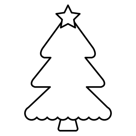 christmas pine tree with star vector illustration design