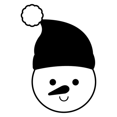 cute snowman head christmas character vector illustration design Illustration