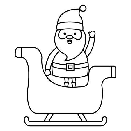 cute santa claus in carriage christmas character vector illustration design