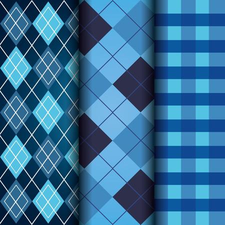 タータンチェッカーとアーガイルテクスチャデコレーションパターンベクトルイラストの青いセット