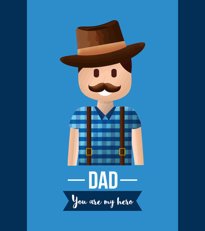 funny dad mustache smiling wearing hat suspenders - happy fathers day vector illustration