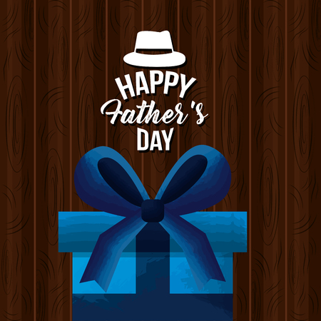 happy fathers day card blue wrapped gift box vector illustration