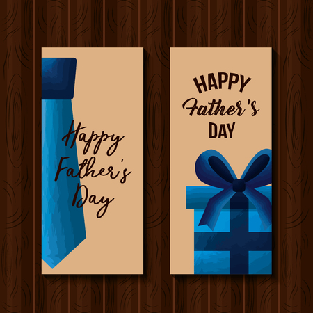 happy fathers day banners tie and gift box on wooden background vector illustration Illustration