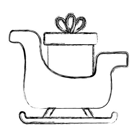 santa claus sleigh with gift vector illustration design Stock Illustratie
