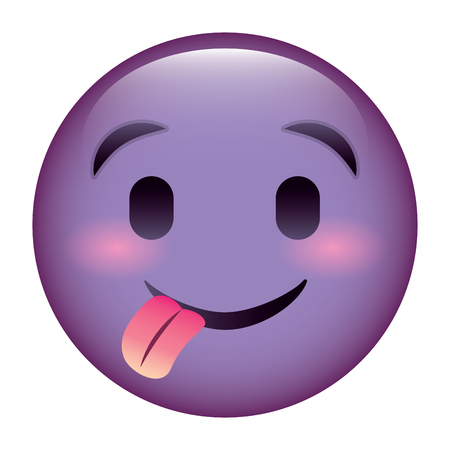 purple emoticon cartoon face tongue out vector illustration