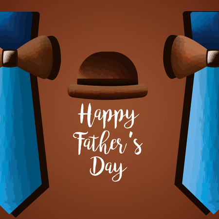 hat with ties bow border decoration card - happy fathers day vector illustration