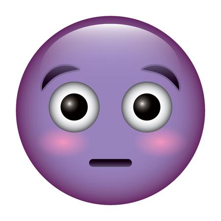 purple emoticon cartoon face surprised vector illustration