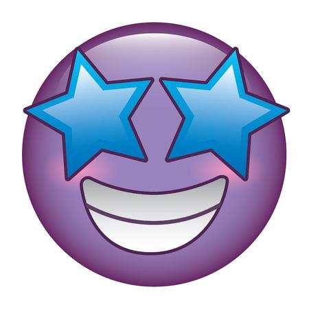 purple emoticon cartoon face happy star eyes vector illustration