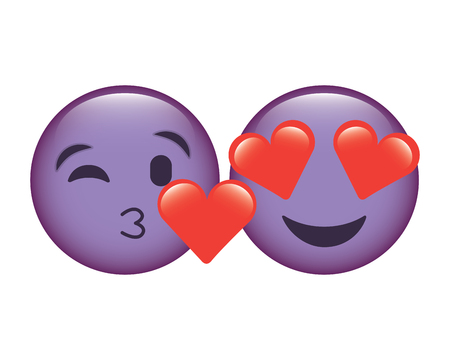 purple faces in love heart eyes and kiss vector illustration