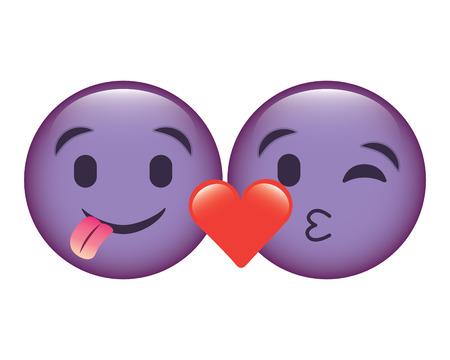 purple emoticons faces tongue out and kiss vector illustration Ilustração