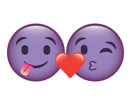 purple emoticons faces tongue out and kiss vector illustration Illustration