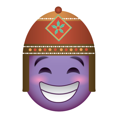 purple emoticon cartoon face with exotic hat vector illustration