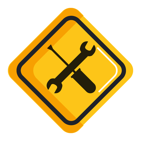 Sign with wrench and screwdriver icon