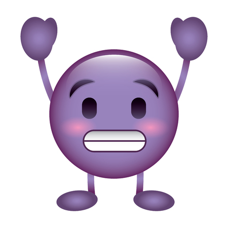 purple emoticon cartoon face toothy smile character vector illustration