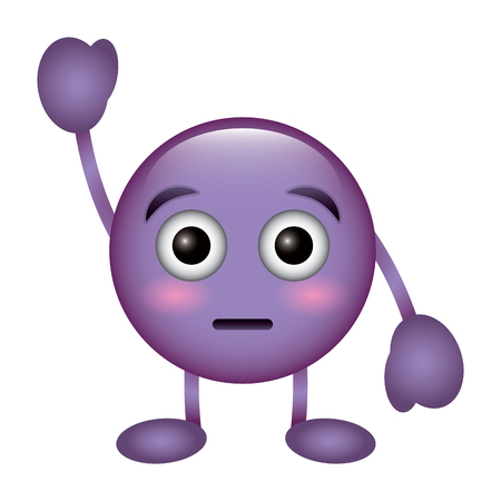 purple emoticon cartoon face astonished character vector illustration