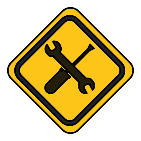 traffic signal with wrench and screwdriver vector illustration design