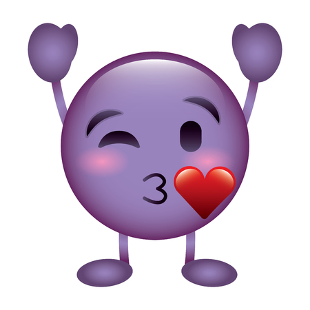 purple emoticon cartoon face blowing a kiss love character vector illustration