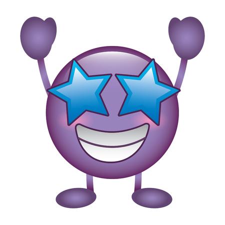 purple emoticon cartoon face happy star eyes character vector illustration