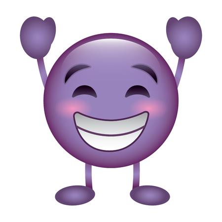 purple emoticon cartoon face smiling happy character vector illustration
