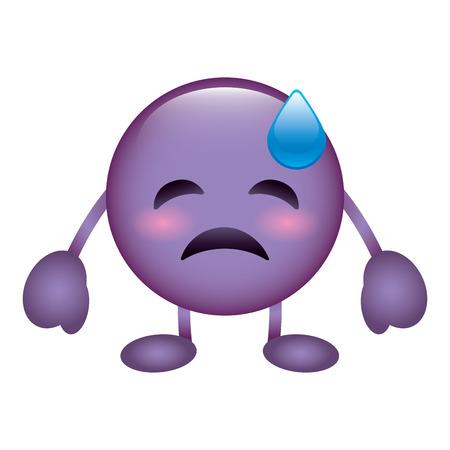 紫色の顔文字漫画の顔うつ病の涙文字ベクトルイラスト  イラスト・ベクター素材