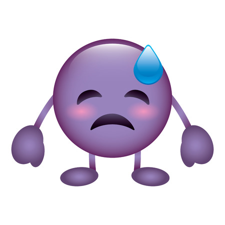purple emoticon cartoon face depressive tear character vector illustration Illustration