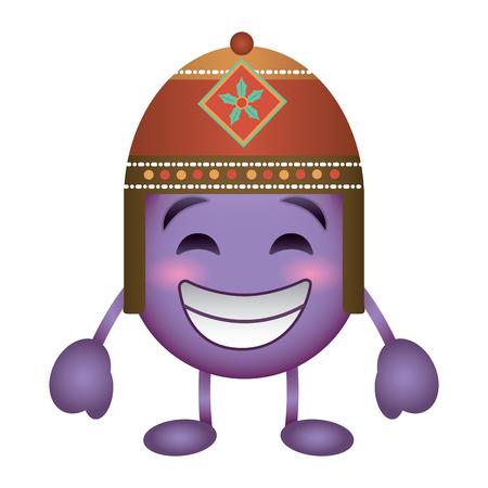 Lila Emoticon Cartoon Gesicht mit exotischen Hut Charakter Vektor-Illustration Standard-Bild - 96445649