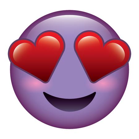 purple emoticon cartoon face in love vector illustration