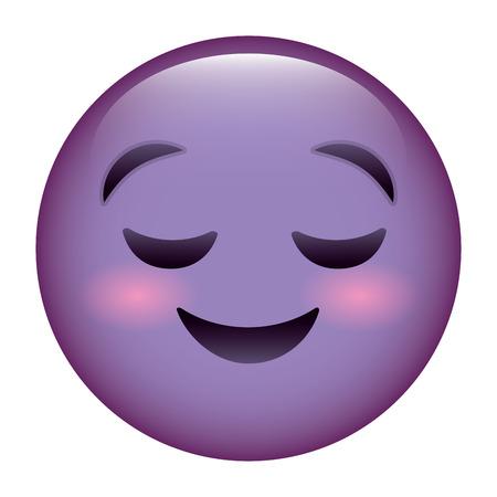 purple emoticon cartoon face grinning closed eyes vector illustration