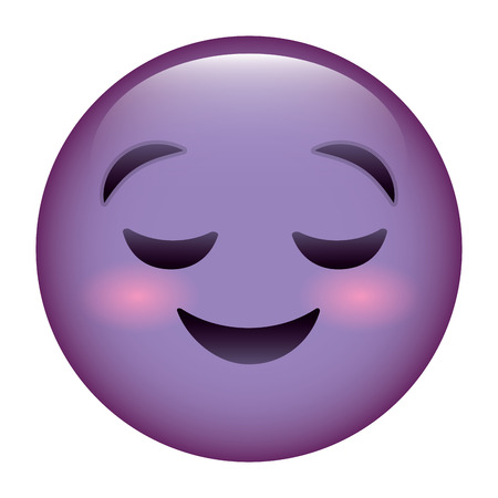 purple emoticon cartoon face grinning closed eyes vector illustration