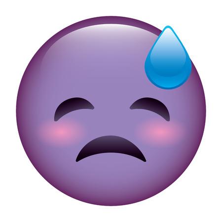 purple emoticon cartoon face depressive tear vector illustration Illustration