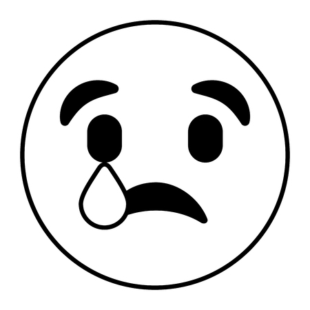 cute smile emoticon with sad tear expression vector illustration outline image