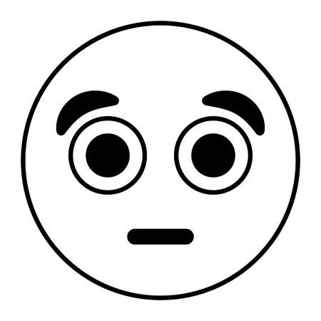 emoticon cartoon face with surprised expression vector illustration outline image Ilustração
