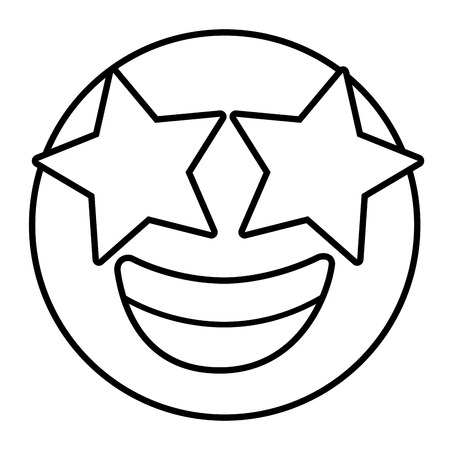 emoticon cartoon face happy with star eyes expression vector illustration outline image
